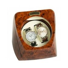 Dual Watch Winder Automatic Double Box Display Case Wood Look Finish Leather NEW