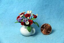 Dollhouse Miniature Roses and Daisies in White Pot Vase ~ RP0121