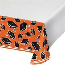 Graduation School Spirit Orange Plastic Tablecloth