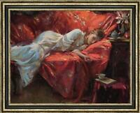 "Hand-painted Original Oil painting art Impressionism girl sofa on Canvas 30""X40"""