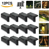 4/12Pack Solar LED Deck Lights Outdoor Path Garden Stairs Step Fence Lamps Black