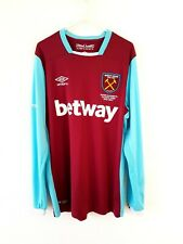 West Ham United Home Shirt 2016. Medium. Umbro. Red Adults Long Sleeves Top M.