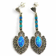 EXQUISITE ART DECO INSPIRED BLUE OPAL MARCASITE EARRINGS 925 STERLING SILVER