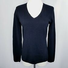 Charter Club Sweater Cashmere 2 Ply Small Black V Neck Long Sleeve Pullover