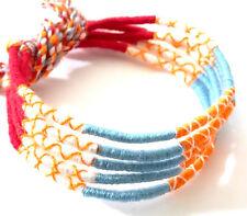 Lot 5 Bracelets Brésiliens de l'Amitié Macramé coton Friendship bleu rouge blanc
