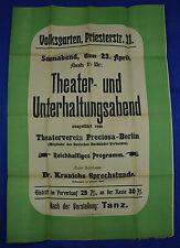 """Orig Theaterplakat 1904 """"Theater- und Unterhaltungsabend"""" Theaterverein Preciosa"""