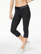 Calvin Klein Performance Logo Cropped Leggings Black Top Heather Size XL