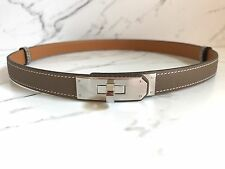 NEW NIB Authentic HERMES ADJUSTABLE Kelly Belt Veau EPSOM leather Taupe Women