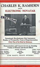 C 1940 POSTER CHARLES K RAMSDEN ELECTRIC NOVATAR GUITAR guitarist musical