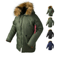 Army N3B Cold Weather Parka Jacket Military Pilot Winter Warm Fur Hooded Coats