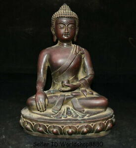 "12.8"" Old Tibet Buddhism Purple Bronze Shakyamuni Amitabha Buddha Lotus Statue"