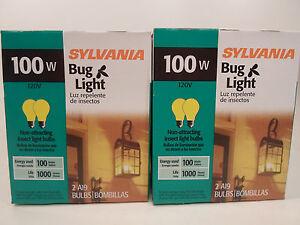 Yellow Bug Light Bulb 100W Watt Sylvania 4 Pack Outdoor Porch Non-attracting