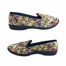 Ladies Slippers Grosby Dalia Slip On Floral Tapestry Look Satin Trim Size 5-11