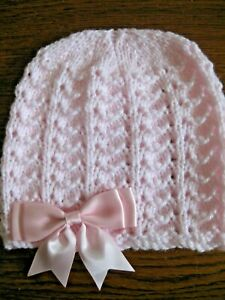 HAND KNITTED BABY PINK BEANIE HAT WITH PINK BOW SIZE 0-3 MONTHS (6)