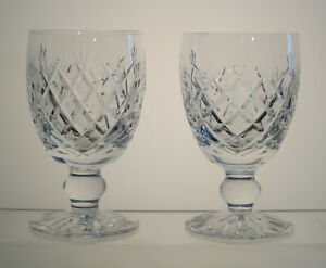 """DONEGAL WATERFORD CRYSTAL Water Goblets 5 1/4"""", Signed, SET of TWO"""