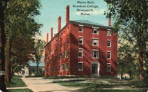 Vintage Postcard 1910's Maine Hall Building Bowdoin College Brunswick Maine ME