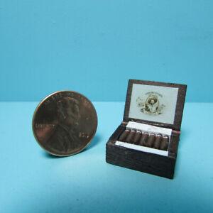 Dollhouse Miniature Wood Cigar Box with Replica Cigars IM65291