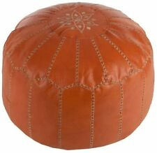 Kaikoo Moroccan Embroidered Bean Bag Pouffe Ottoman, Orange Tan