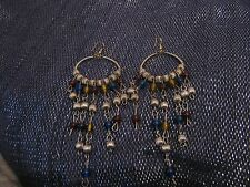 beaded dangles approx 5ins long Fantastic silver tone metal earrings with