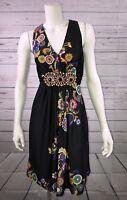 Womens Trulli Size 4 Black Floral Sleeveless Empire Waist Dress