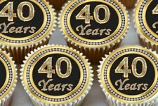 30 X 40TH BIRTHDAY ANNIVERSARY EDIBLE CUPCAKE TOPPERS CAKE THICK RICE PAPER 1177