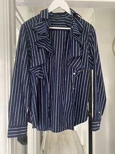 Ralph Lauren Cotton Ruffled Shirt - Navy Blue Stripes - Size L - Worn Once