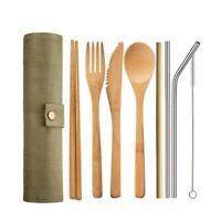 Cuisine de table en bambou pour couverts en acier inoxydable Boîte de cantine