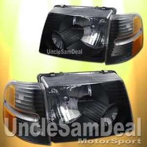 FOR 02-05 FORD EXPLORER 4 DOOR OE STYLE CLEAR BLACK HEADLIGHTS CORNER 4 PIECES