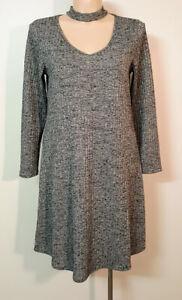 CROSSROADS Choker Dress 16 Style 'Dark Romance' Grey Marle Stretch Rib Knit