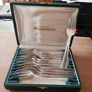 coffret de 12 fourchettes à gâteaux en métal argenté FRANCOIS FRIONNET