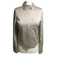 STRENESSE Gabriele Strehle Women's UK 10 Beige Silk Blend Jacket Tailored Biker