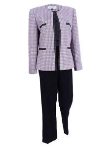 Tahari ASL Women's Chain-Trim Tweed Pantsuit (2, Pink/Black)