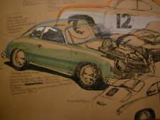 Porsche 356 A Coupé - Skizze, Studie, Handzeichnung