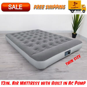 """Bestway 12"""" Air Mattress with Built in AC Pump, Flocked Airbed Camping Twin Size"""