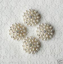 10 Rhinestone Button Round Pearl Crystal Wedding Invitation Bouquet Making BT132