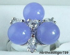 Charming Lavender Jade 3 Beads 18KWGP Crystal Ring Size: 6.7.8.9