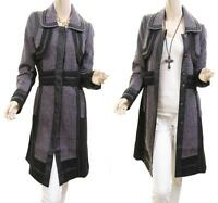 BOHO Wool Blend Tweed Faux Leather Laced Peacoat Jacket Outerwear Trench Coat