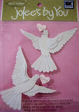 NEW 2 pc WHITE DOVES Iridescent Wedding Love Peace JOLEE'S 3D Embellishments