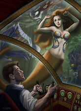 Signed Steampunk Little Mermaid & Prince 13x17 Art Print by Sandra Chang-Adair