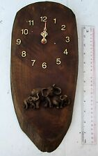 NICE! 100% Handmade Teak Wood Elephant Wall Clock Battery Operated