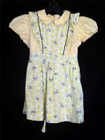 RARE CINDERELLA BRAND VINTAGE 1940'S YELLOW COTTON PRINT GIRLS DRESS SZ 4-5