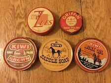 5 Vintage Shoe Shine Polish Tins - Griffin, Kiwi & Zoes Brands