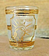 Shot Glass New York Souvenir 22k Gold Statue of Liberty