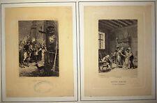 2 Gravures Etching Adolphe LALAUZE Les Contes d'Hoffmann Ed. Jouaust 1874 1883