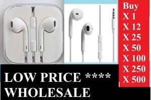 BULK Earphones Headphones Headset iPhone 6s 6 5c 5s 5 SE iPad iPod With Mic LOT