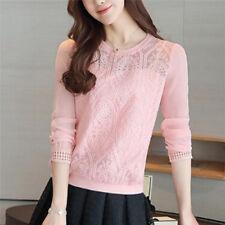Women Fashion Long Sleeve Casual Shirt Top Patchwork Lace Chiffon Blouses Tops3c M Pink