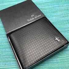 White Dove Black Bi-Fold Wallet Billfold Silver Cross Embossed Faux? Leather NOS