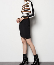 BNWT KAREN MILLEN STRIPE BODYCON BLACK WHITE AND BROWN KNIT DRESS SIZE M 12 / 14