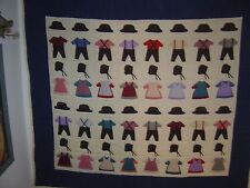 "AMISH BLUE-BEIGE ""BOYS & GIRLS CLOTHING"" SIGNED/DATED WALLHANGING QUILT 47""- 42"""