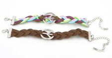 Set of 2 New Suede Peace Sign Bracelets Multi-Colored & Brown #B1191-B1213